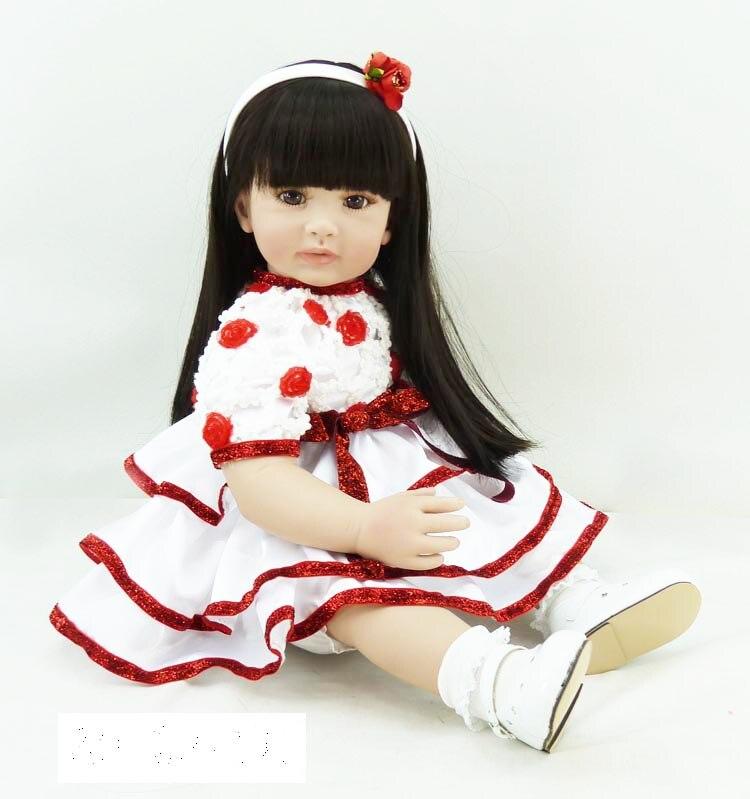 Pursue 24/60 cm Straight Black Hair Vinyl Silicone Reborn Toddler Girl Princess Doll Toys for Children Girls House Play Bedtime lifelike american 18 inches girl doll prices toy for children vinyl princess doll toys girl newest design