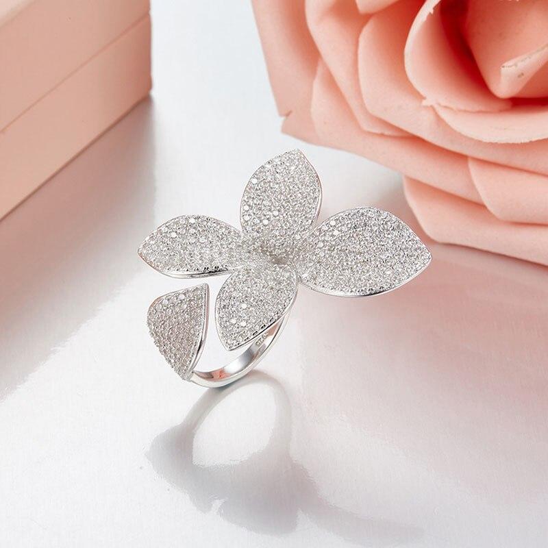 SLJELY 925 Sterling Silver Flower Petal Brand Design Fashion Popular Luxury Full AAA Cubic Zirconia Wedding