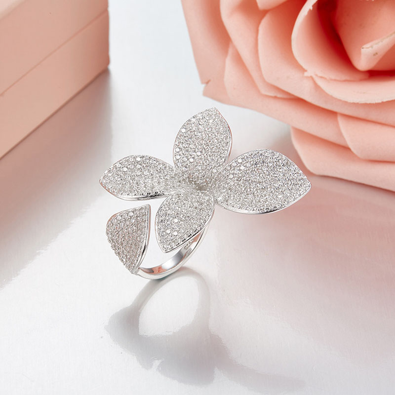 SLJELY 925 Sterling Silver Flower Petal Brand Design Fashion Popular Luxury Full AAA Cubic Zirconia Wedding Party Opening Rings-in Rings from Jewelry & Accessories    1