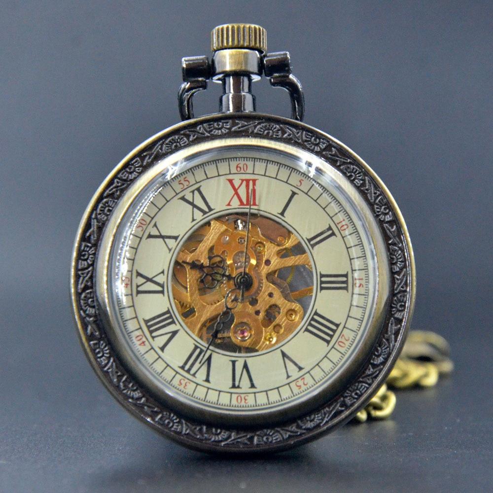 Fashion Bronze Mechanical Hand Wind Pocket Watch Roman ...