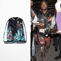2016 Moda Outono Jaqueta Kanye West Dos Homens da Cópia Do Tigre E Águia Casaco Jaqueta De Beisebol do Hip Hop
