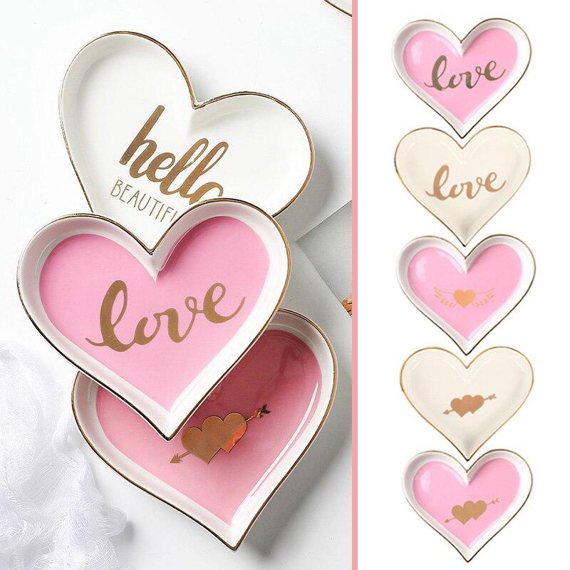 Креативный в форме сердца керамический поднос для обеденной тарелки подарок на День святого Валентина для сладкой посуды Ювелирная тарелка десертные ресторанные Держатели