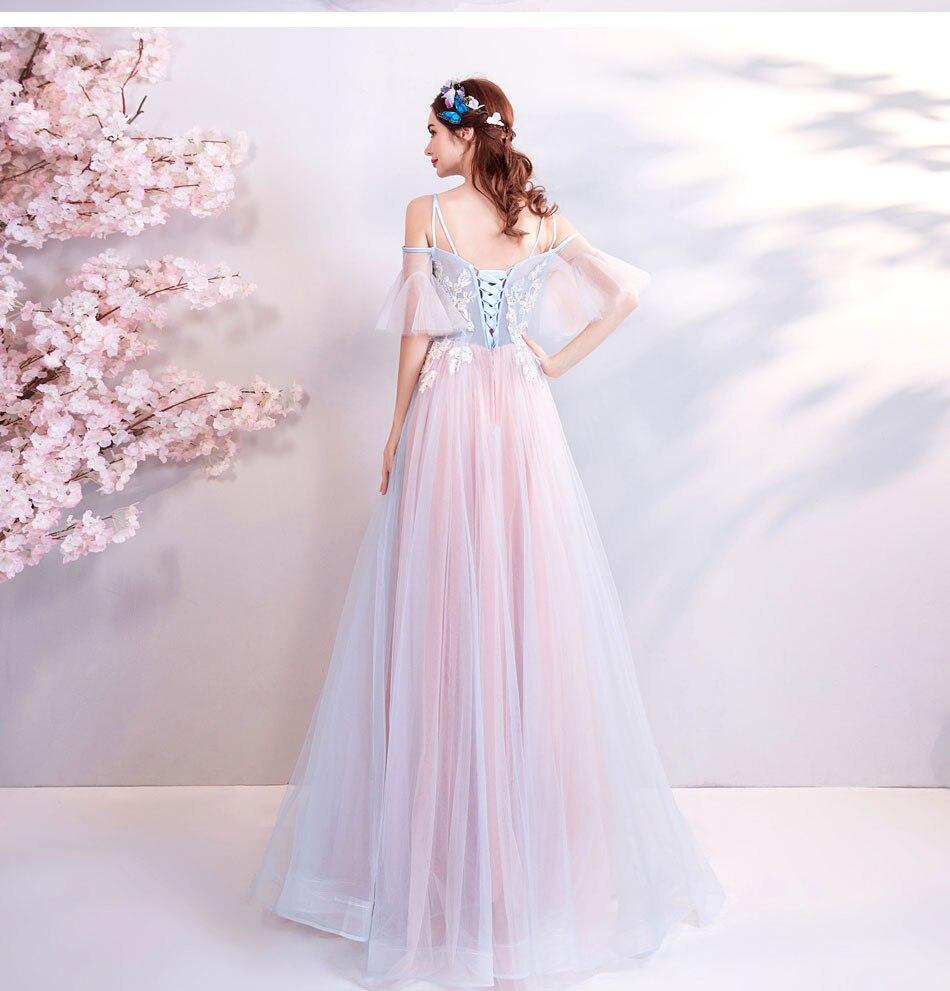 Elegant Off The Shoulder Tulle Long Bridesmaid Dress 13