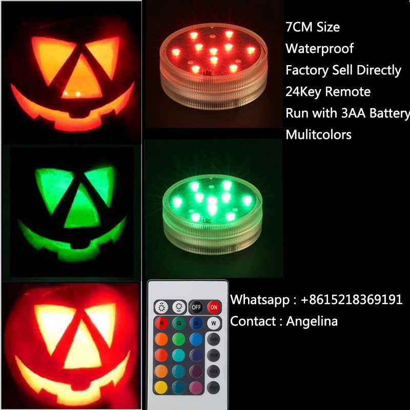 Pumpkin Light!!!(4 PCS/lot) Submersible Remote LED Light Party Multicolor Glass Vase Base Halloween Decorative Lighting