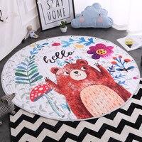 Children Play Mat Cartoon Bear Pattern Round Beach Towel Animal Printing Plush Storage Mat Tassel Travel Picnic Outdoor Pads