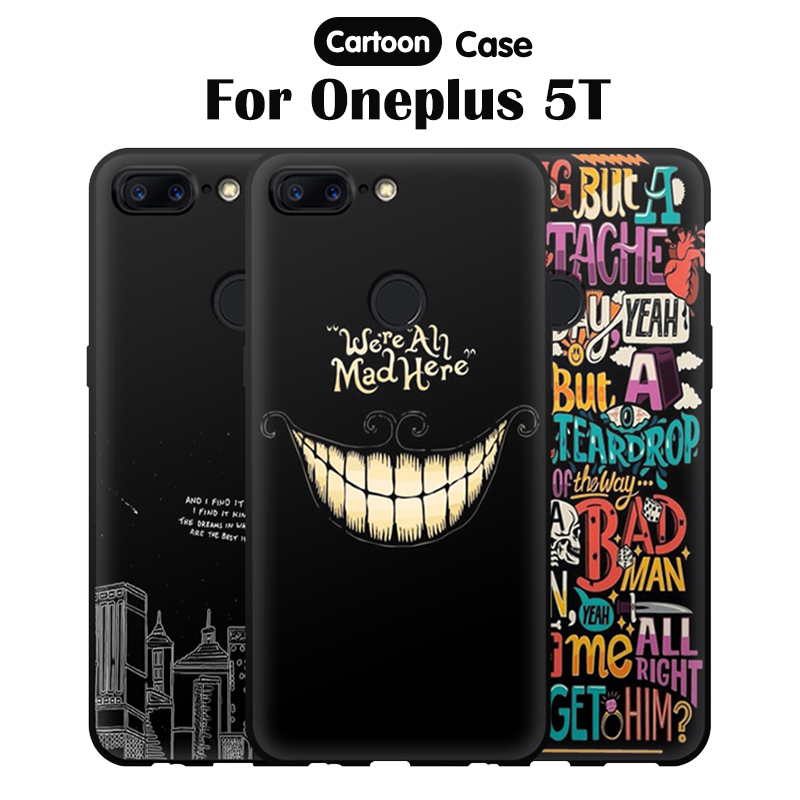 JURCHEN Cases For One plus 5T Cover For Oneplus 5 T Case Matte Cartoon Black Print Silicone Back Bags For Coque Oneplus 5T Case