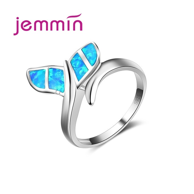 Jemmin New Promotion Cute Whale Ring with Blue Fire Opal 925 Sterling Silver Rin