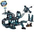 Kazi novo 794 pcs cidade guerra x-agentes espaçoporto helicóptero motocicleta building block set brinquedos para crianças