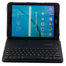 """Wireless Bluetooth Keyboard for Samsung Galaxy Tab S2 T810 T815 T819 9.7"""" Tablet Portfolio Leather Stand Case Cover"""