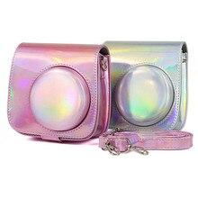 Fujifilm funda para cámara Instax Mini 9 Mini 8, bolsa holográfica brillante láser, correa para el hombro para cámara instantánea, funda protectora