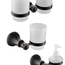 Масло втирают Бронзовый 3 шт аксессуары для ванной комнаты Набор держатель чашки для зубной щетки дозатор жидкого мыла