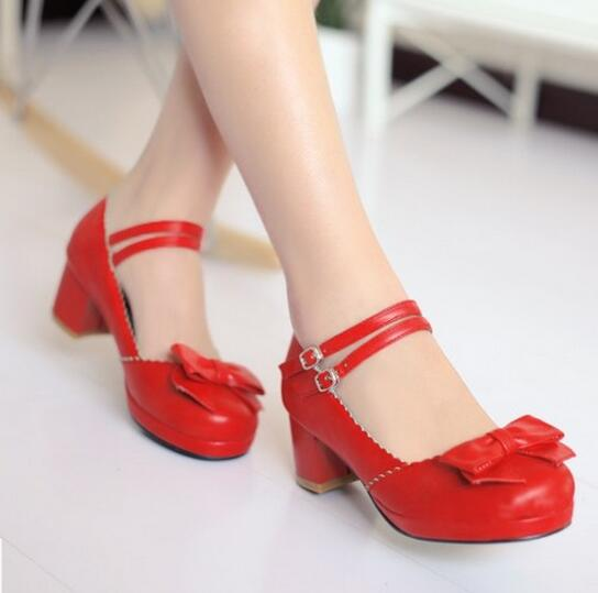 Women Buckle Straps Bow Lolita Shoes New 2017 Japanese Style Ladies Chunky Heel Cosplay Red Pumps Round Toe Free Shipping t strap round toe women lolita wedge high heel shoes new 2017 side open japanese style wedges with buckle straps free shipping