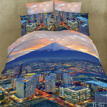 3 Piece Bustling City Skyline Themed Bedding Sets,Modern Fashion Graphic Downtown Street Mountain Style Empire State Building