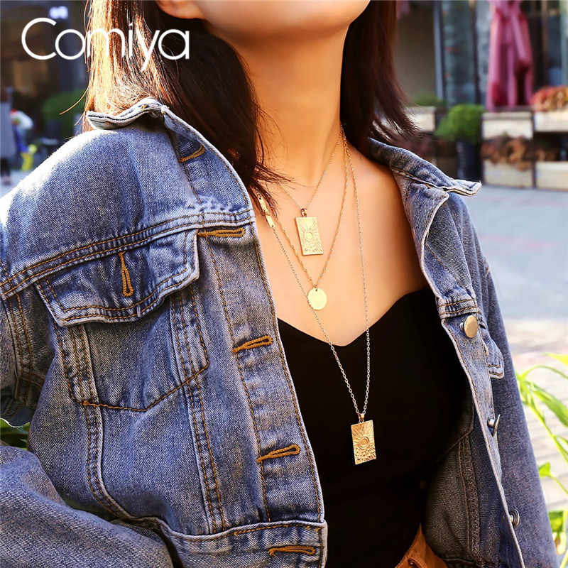 782dd7ba587d Comiya Indian Necklaces For Women Gold Color Zinc Alloy Three Layers  Steampunk Fashion Long Pendant Necklace