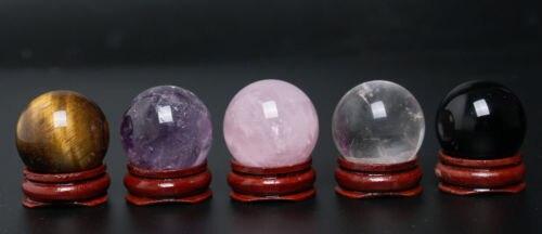 Perfect-5PC-30 mmBlack Obsidian Sphere Tigre Ametista quarzo rosa sfera di legno del basamento Chakra Guarigione Di Cristallo Reiki Pietra Naturale
