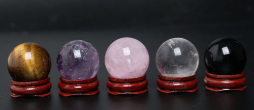 Perfect-5PC- 30mmBlack Obsidian Sphere Tiger Amethyst rose quartz ball wood stand Chakra Healing Crystal Reiki Natural Stone