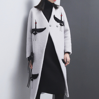 Women Embroidery Winter Long Cardigan Temperament Woollen Coat For Woolen Big Size Loose Outwear Fashion Tide Cothing QW783