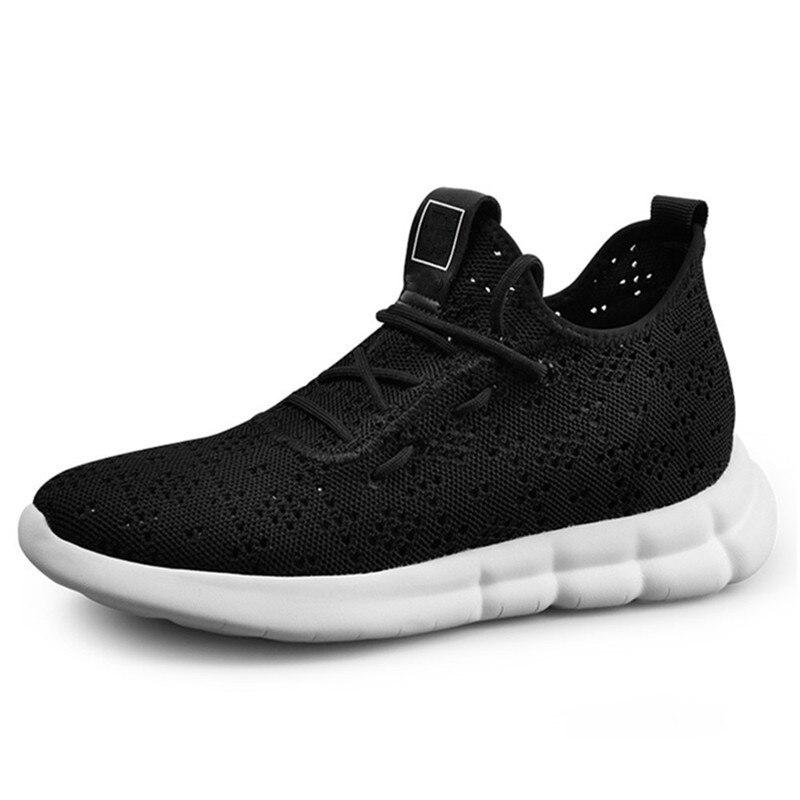 Deportivos Nuevo 36 Negro Zapatos Plantilla Deporte Aumento Pulgadas 2 Transpirables Huecos De Corto Con Verano Invisible Zapatillas Hombres Ascensor Altura TRrITAq