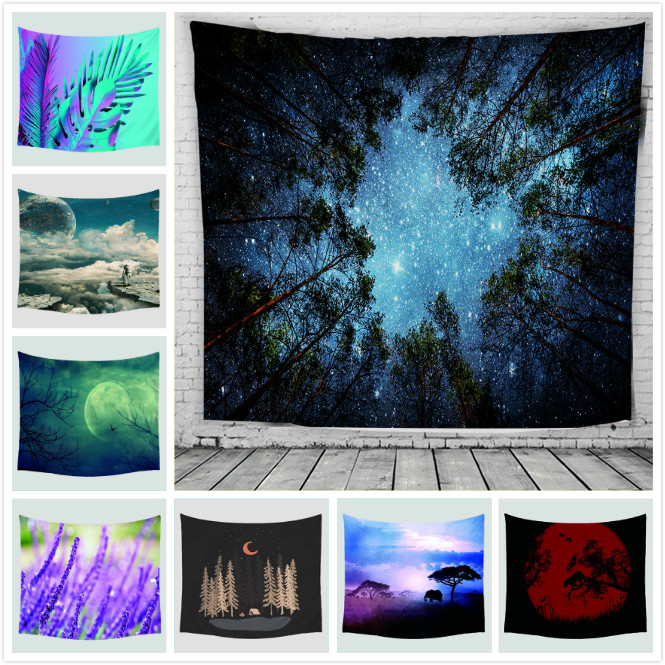 Психоделический лес ёлки и звезды Звездное небо ткань настенный гобелены Декор шторы из полиэстера плюс длинные покрытие стола