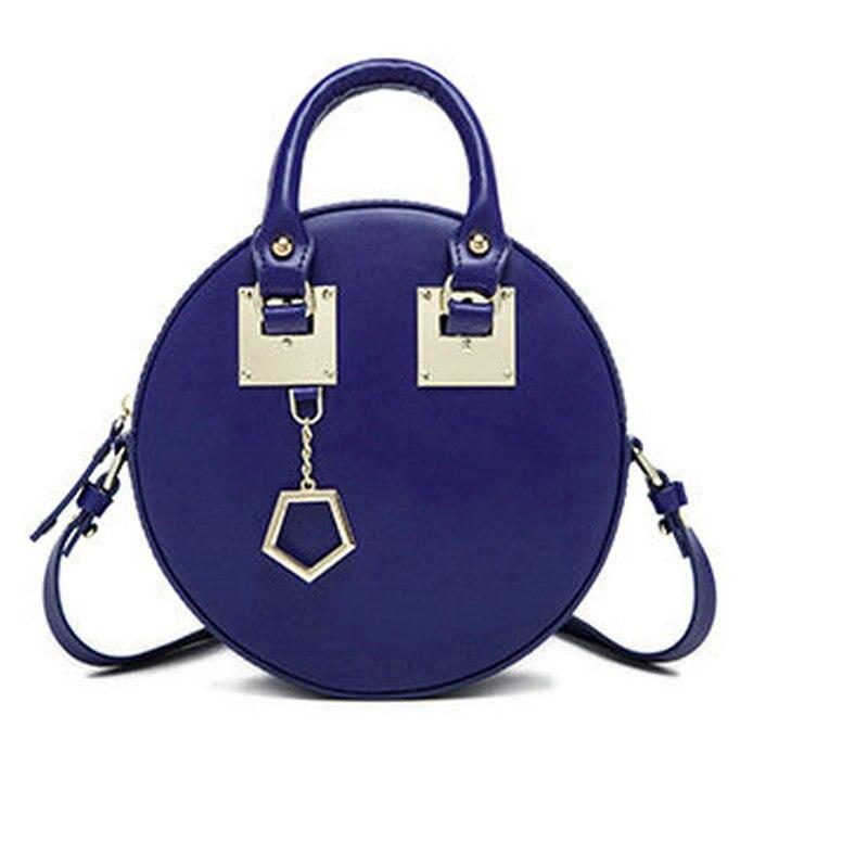 ФОТО New fashion genuine leather round shape handbag metal patch women's shoulder bags vintage luxury cross body bags