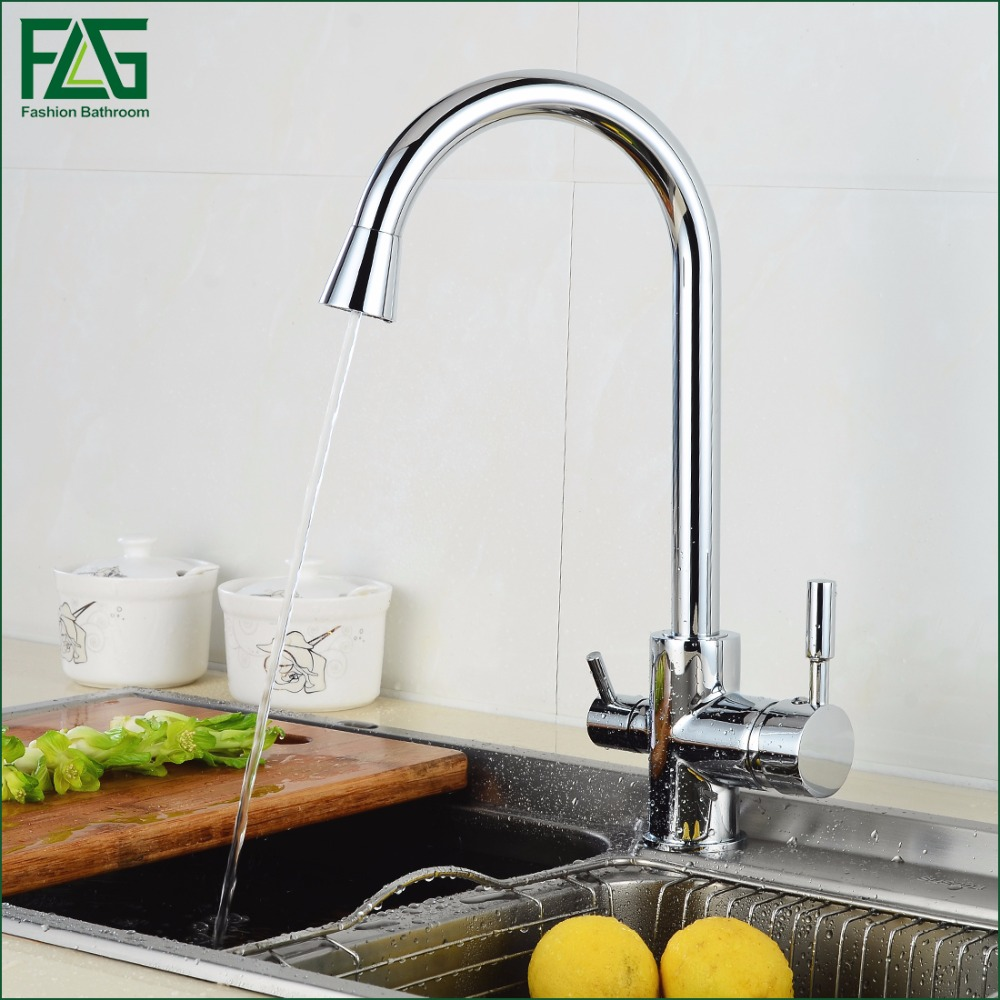 FLG Hot Sale 3 Way Tap Kitchen Water Drinking Water Faucet Chrome Kitchen Taps Mixer Water Filter Rotatable Purify Mixer 255-33C flg brass kitchen faucet mixer cold and hot kitchen tap chrome single hole water tap kitchen sink 674 33c