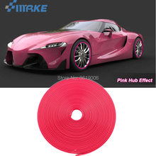 smRKE 8M Car Wheel Hub Rim Edge Protector Ring Tire Strip Guard Rubber Stickers On Cars Pink Styling