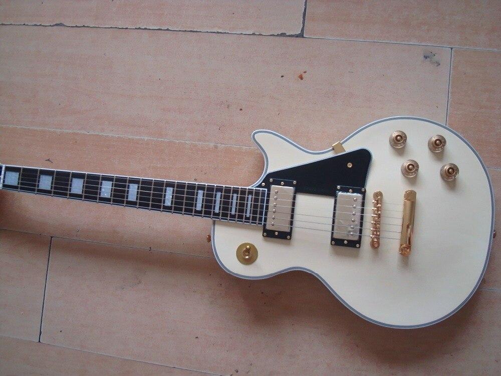 Nouveau Randy Rhoads logo pickguard guitare OEM personnalisée en bois naturel Acajou Ivoire crème one piece cou livraison gratuite ébène manche