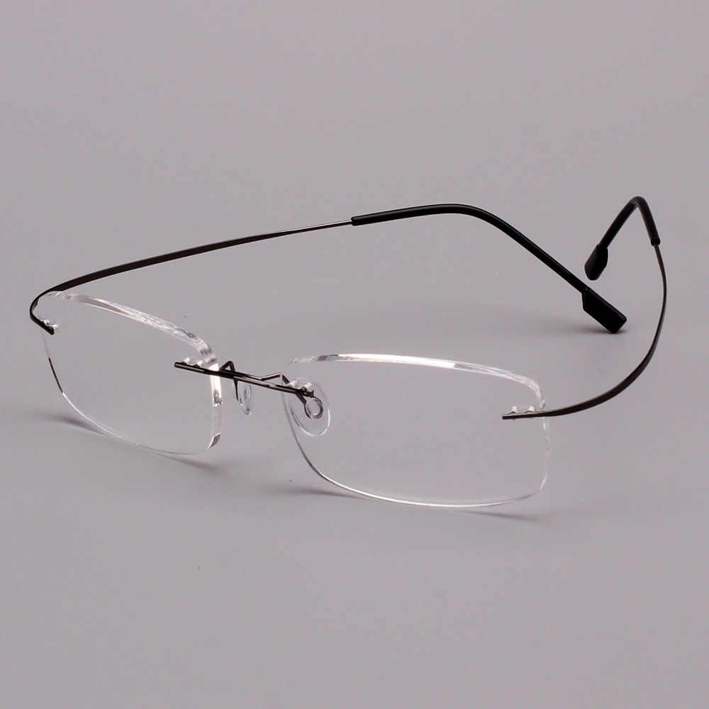 4209335771 Agstum Memory Titanium Rimless Retro Flexible Eyeglass Eyewear Reading  Glasses Readers