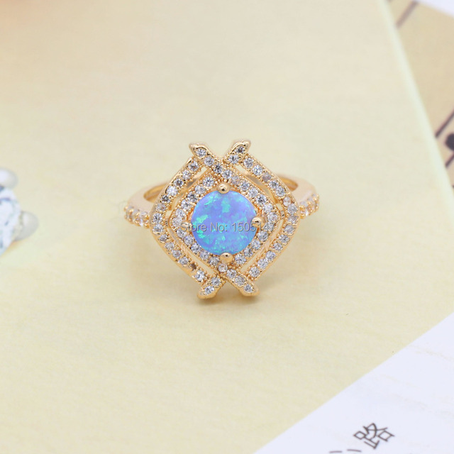 Beautiful Pleasantly Surprised Wholesale Jewelry Bule Fire Opal Zircon 925 Gold Plated Ring