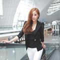 2016 Blazer Suits New Top Shirt Sexy Sheer Lace Blazer Lady Suit Outwear Women Female Formal Slim Jacket Black White M-XL Size