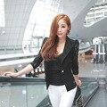 2016 Ternos Blazer Camisa Nova Top Sexy Blazer Rendas Pura Senhora Mulheres terno Outwear Feminino Jacket Magro Formal Black White Tamanho M-XL