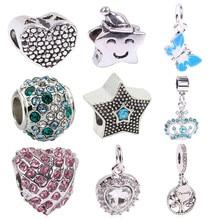 AIFEILI New Silver Bead Charm European Silver With Star Fashion Charm Bead Fit Pandora Bracelet DIY