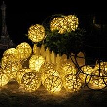 Гирлянда Рождественский светильник s 4 см ротанговый шар светодиодный светильник 3 м 20 светодиодный s теплый белый праздничное украшение для вечеринки, свадьбы, сказочный светильник s