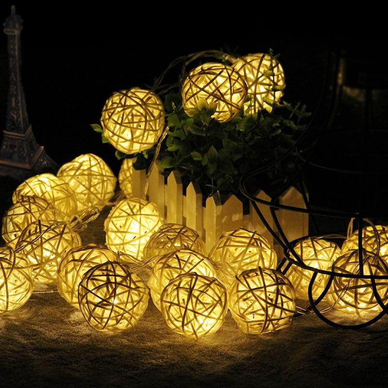 Garland Christmas Lights 4cm Rattan Ball LED String Light 3M 20LEDs Warm White Holiday Party Wedding Decoration Fairy Lights