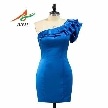ANTI Fashion Sexy One-Shoulder Prom Dresses Cheap Short Mermaid Party Gowns Evening Satin Graduation Dress Vestido De Fiesta