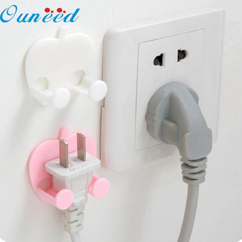 1PC Aapple shaped socket outlet power cable storage rack multifunctional stick Hooks key organizer FEB14