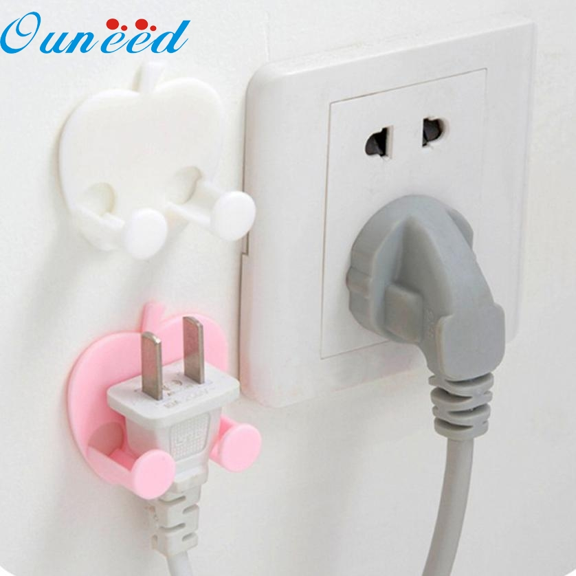 1PC Storage Rack for Socket Outlet Power Cable Heart shaped multifunctional Stick Hooks key organizer FEB14