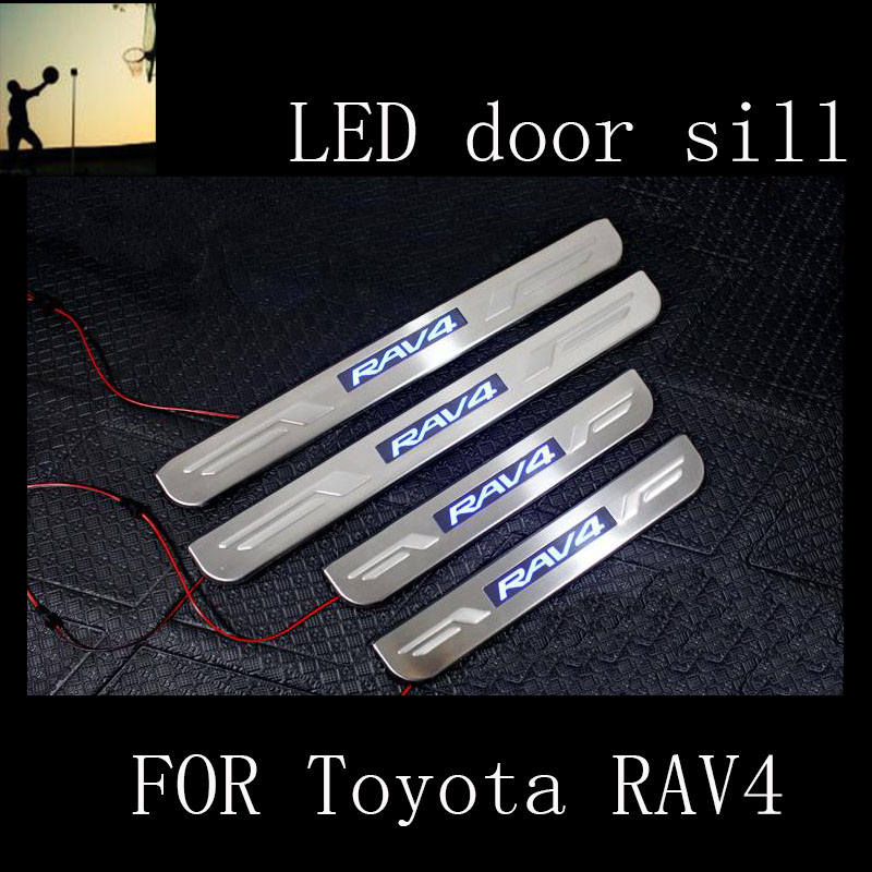 Car-Styling FOR Toyota RAV4 2007 2008 2009 2010 2011 2012 2013 stainless steel scuff plate LED door sill accessories Car Styling factory style car roof rack rails bars black for toyota rav4 2006 2007 2008 2009 2010 2011 2012