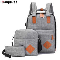 Для мужчин рюкзак-мешок мужской полиэстер ноутбук рюкзак Компьютерные сумки школьник Колледж студентов зарядка через usb комплект из 3