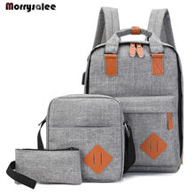 Men's Backpack Bag Male Polyester Laptop Backpack Computer Bags High School Student College Students USB Charging 3 Pieces(China)
