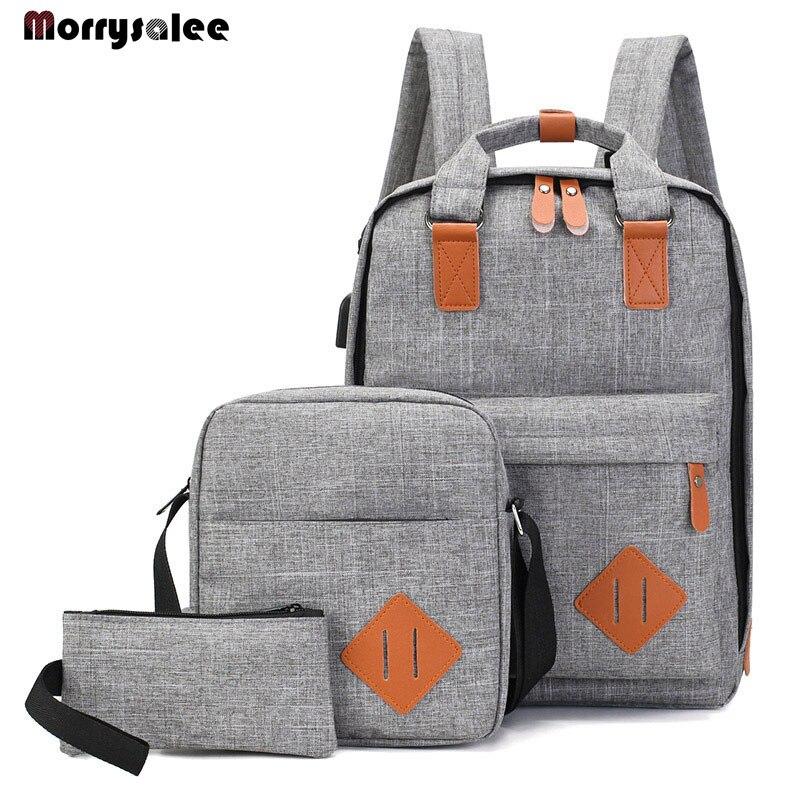 Mochila para hombre, mochila para ordenador portátil de poliéster para hombre, mochilas para estudiantes de secundaria, carga USB de 3 piezas