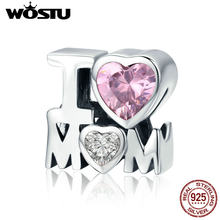 WOSTU Hot Sale 925 Sterling Silver I LOVE MOM Pink CZ Beads fit Original Charm Bracelet Necklace Jewelry Mother Day Gift CQC579(China)