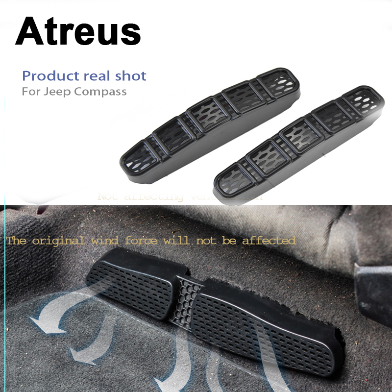 Atreus 2Pcs Car <font><b>Accessories</b></font> Under Seat Air Conditioner Grill Outlet Protective Covers Sticker For <font><b>Jeep</b></font> <font><b>Compass</b></font> MP 2017 <font><b>2018</b></font> image