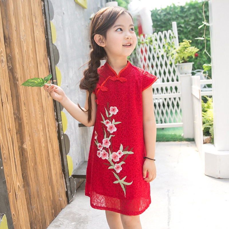 2017 autumn chinese qipao classic dress multi baby girl floral peacock cheongsam kids dress clothes free shipping new red hot chinese style costume baby kid child girl cheongsam dress qipao ball gown princess girl veil dress