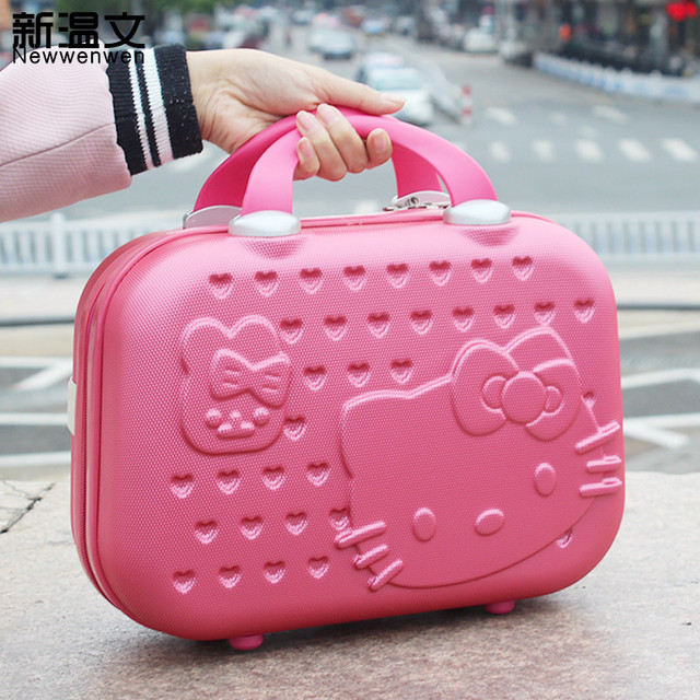 45e0603562a 13inch Cute Hello kitty Women Makeup case Business travel Make Up bag  Luggage Girl Cartoon Suitcase Student portable Suitcase