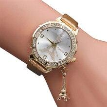 2018 Hot sale Mulheres Quartz relógio de Pulso A Torre Eiffel pingente de Strass Relógio de Pulso Relógio Feminino relogio feminino
