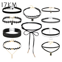 17KM 10 PCS Set New Gothic Tattoo Leather Choker Necklaces Set For Women Hollow Out Black