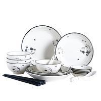 Adeeing 20PCS/Set Ceramic Dinnerware Set Cute Cartoon Puppy Pattern Tableware Cutlery Set