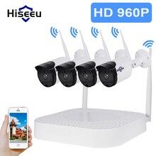 Hiseeu  4CH Wireless NVR 960P WIFI CCTV System1.3MP IP Camera IR-CUT Bullet CCTV Camera Security System Surveillance Kits