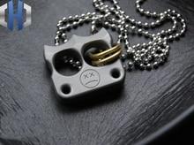 EDC Titanium Pointed Double Hole Pendant Car Keychain Knife Necklace Tools
